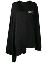 Moohong Asymmetrical Oversized Logo Shirt Black