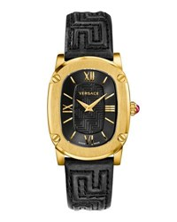 Versace 30Mm Couture Oval Watch W Leather Strap Black