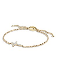 David Yurman 18K Gold Petite Sideways Diamond Cross Bracelet Diamonds