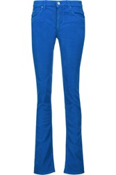 Etoile Isabel Marant Madlyn Cotton Blend Corduroy Slim Leg Pants Cobalt Blue