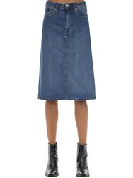 Calvin Klein Jeans Iconic Cotton Blend Denim Midi Skirt Blue