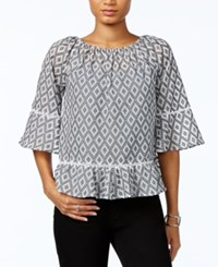 Tommy Hilfiger Crochet Trim Peplum Hem Top Only At Macy's Off White Black