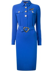 Love Moschino Long Sleeve Belted Dress Blue
