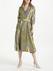 Bruce By Bruce Oldfield Floral Jacquard Shirt Dress Yellow Black