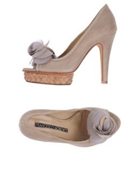 Francesco Morichetti Pumps With Open Toe Khaki