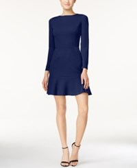 Bar Iii Long Sleeve Flounce Dress Only At Macy's Ink Spill