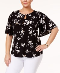 Charter Club Plus Size Floral Print Kimono Sleeve Top Only At Macy's Deep Black Combo