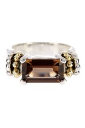 Lagos Sterling Silver And 18K Yellow Gold Glacier Smoky Topaz Ring Size 7 Brown
