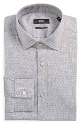 Boss Men's Big And Tall Slim Fit Dot Dress Shirt Grey