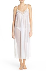 Women's Oscar De La Renta Sleepwear Point D'espirit Long Chemise Pearl