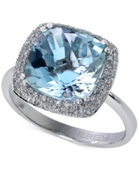 Effy Collection Aquarius By Effy Aquamarine 4 Ct. T.W. And Diamond 1 4 Ct. T.W. Ring In 14K White Gold