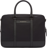 Burberry Black Nylon And Pebbled Leather Newburg Briefcase