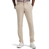 Barneys New York Cotton Slim Trousers Beige Tan