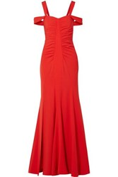 Halston Heritage Cold Shoulder Ruched Stretch Crepe Gown Red