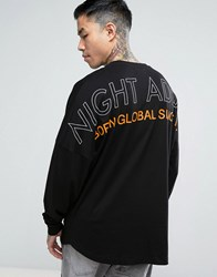 Night Addict Back Print Long Sleeve Top With Dropped Shoulders Black