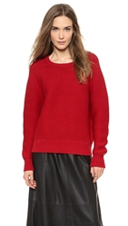 Elle Sasson Waffle Knit Sweater Red