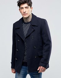 Scotch And Soda Peacoat In Wool In Navy Night Navy Night
