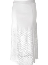 Kenzo Cut Out Knit Skirt White