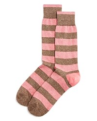 Bloomingdale's The Men's Store At Genova Rugby Stripe Cotton Blend Dress Socks Pink