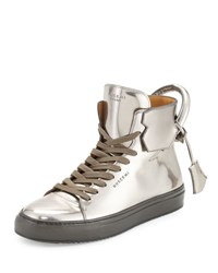 Buscemi 125Mm Men's Metallic Leather High Top Sneaker Gunmetal