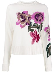 Ballantyne Floral Knit Jumper White