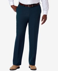 Haggar Men's Big And Tall Classic Fit Cool 18 Pro Expandable Waist Dress Pants Navy