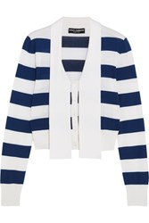 Dolce And Gabbana Striped Cashmere Silk Blend Cardigan Navy