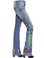 John Richmond Embroidered Flared Cotton Denim Jeans