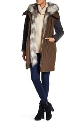 Vera Wang Removable Faux Fur Collar Knit Sleeve Coat Beige