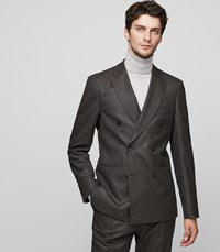 Reiss Chianti B Double Breasted Blazer In Brown Mens