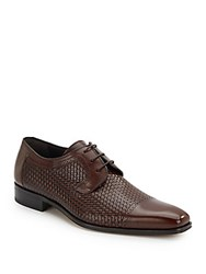 Mezlan Woven Leather Cap Toe Oxfords Brown