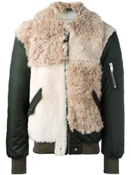 Diesel Furred Front Bomber Jacket Nude And Neutrals
