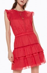 Scotch And Soda Tiered Sleeveless Dress Color 0406 Coral