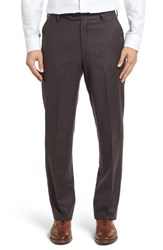 Berle Men's Big And Tall Flat Front Solid Wool Trousers Heather Brown