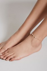 Forever 21 Faux Pearl Anklet Gold