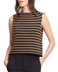 Vince Striped Cotton Cropped Shell Tank Military Black Military Black