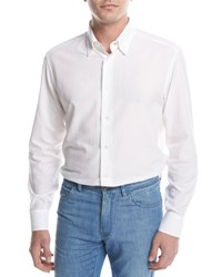Brioni Textured Solid Sport Shirt White