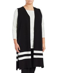 Vince Camuto Plus Striped Duster Vest Black White