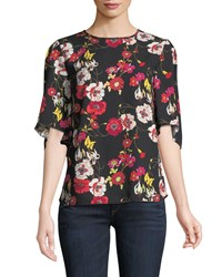 Chelsea And Theodore 1 2 Sleeve Floral Crepe Blouse Black Red