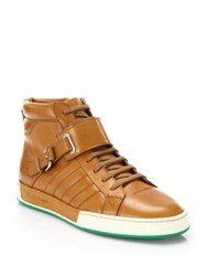 Ralph Lauren Quilted Vachetta Leather High Top Sneakers Saddle