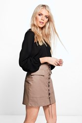 Boohoo Aria Leather Look Lace Up Pocket Front Mini Skirt Taupe