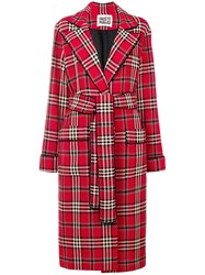 Fausto Puglisi Classic Check Long Coat Red