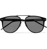 Bottega Veneta Aviator Style Aluminium Sunglasses Black