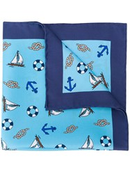 Kiton Sailor Pocket Square Blue