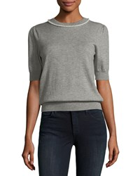 Kate Spade Pearly Embellished Half Sleeve Top Grey Melange