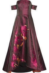 Badgley Mischka Off The Shoulder Printed Satin Twill Gown Merlot