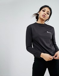 Daisy Street Long Sleeve T Shirt With Wannabe Embroidery Black