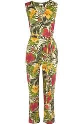 Miguelina Alexa Printed Cotton Voile Jumpsuit Army Green