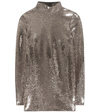 Tom Ford Sequin Embellished Blouse Silver