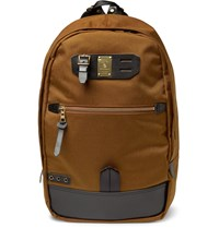 Master Piece Surpass Leather Trimmed And Technical Canvas Backpack Camel